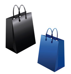 Set of empty shopping bags isolated in white vector