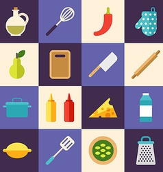 Set of Flat Style Food Icons Cooking Concept vector image vector image