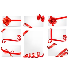 Set of gift cards with red gift bows with ribbons vector image vector image