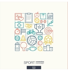 Sport integrated thin line symbols Modern linear vector image vector image