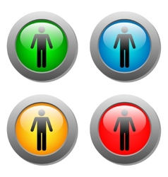 Standing human icon set on glass buttons vector image vector image