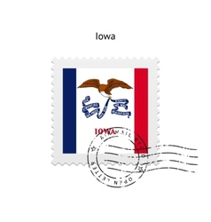 State of iowa flag postage stamp vector