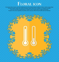 thermometer temperature Floral flat design on a vector image