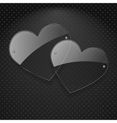 two glass hearts over metal background vector image