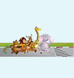 Wild animals running on the road vector
