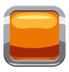 Gold square button icon cartoon style vector