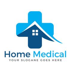 Home and medical cross logo design vector