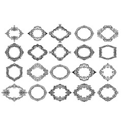 hand drawn decorative frames set cartoon style vector image