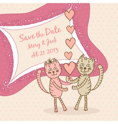 Save the date card with lovers cats vector