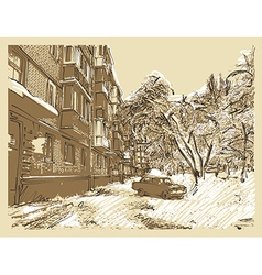 Hand draw winter town landscape vector