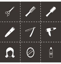Black barber icons set vector
