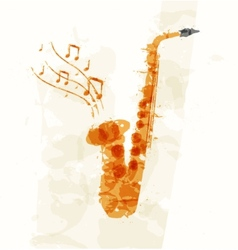 Abstract image of a saxophone vector image