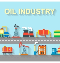 Factory oil building industry and technology vector