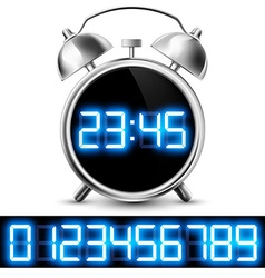 Table clock with digital display and a set of vector
