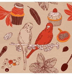 Sweet cupcakes parrots flowers vector