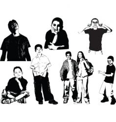 eight teenagers vector image