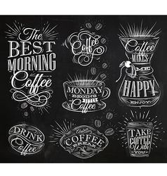Coffee signs chalk vector