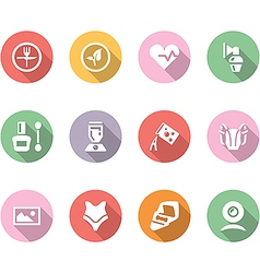 Icon set with shadow different household objects vector