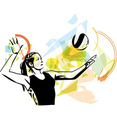 Volleyball player playing vector