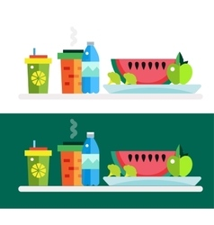 Vegetarian food shop market object icons vector
