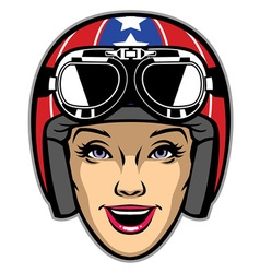 Women rider wearing motorcycle helmet vector