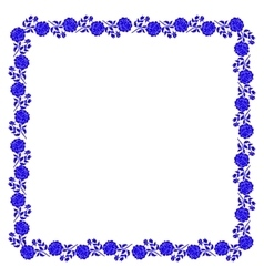 Delicate frame with blue peony flowers isolated on vector