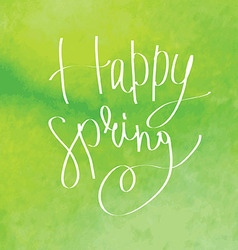 Happy spring watercolor lettering vector