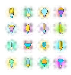 Light bulb icons set pop-art style vector image