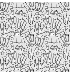 Clothes and shoes outline pattern doodle vector