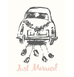 Drawn bride groom old fashioned car sketch vector