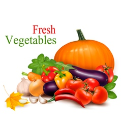 autumn background with fresh vegetableses vector image