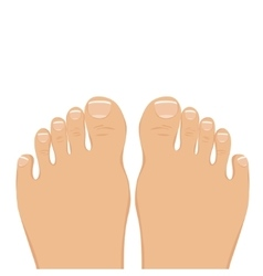 A woman barefoot top view vector