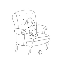 Beautiful vintage chair cute dog and a ball vector image