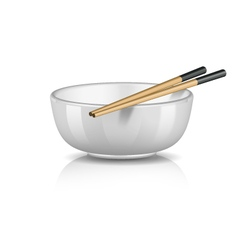 Bowl with chopsticks vector image vector image