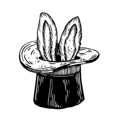 Bunny ears in magician hat engraving vector