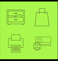 Business outline icons set linear icon vector