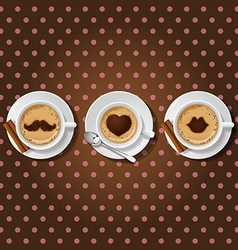 cappuccino cups with male love female symbol vector image vector image