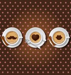 Cappuccino cups with male love female symbol vector