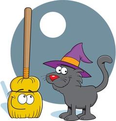 Cartoon Broom and Cat vector image