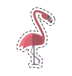 Cartoon flamingo bird tropical icon vector