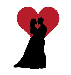 Couple In Love With Red Heart vector image vector image