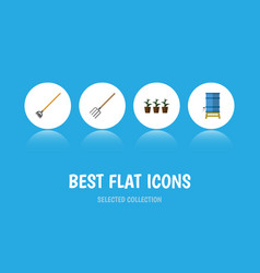 Flat icon dacha set of flowerpot hay fork tool vector