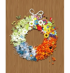 Four seasons frame - spring summer autumn winter vector image