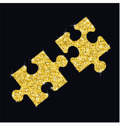 glitter golden puzzle vector image vector image