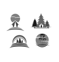 Green travel or ecology tourism icons vector
