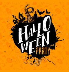 halloween party lettering on pattern vector image vector image