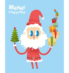 Happy Christmas Cute Santa Claus holding many vector image