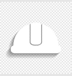 Hardhat sign white icon with soft shadow vector