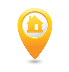Home icon yellow map pointer vector