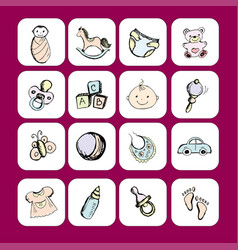 Icons newborn baby itemsaccessories and toys vector